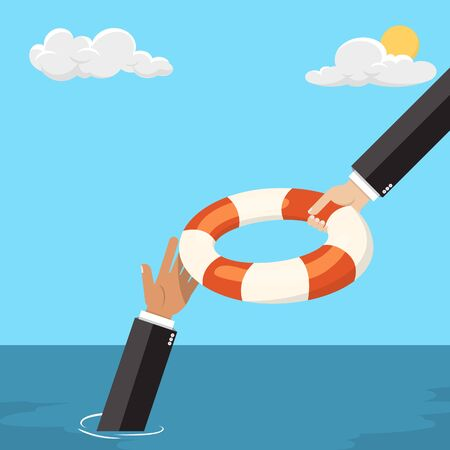 Helping Business to survive, the ocean - vector illustration   Çizim