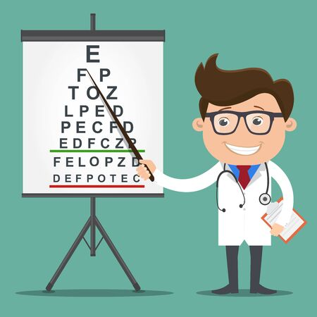 Ophthalmologist point out to eyesight check table.Medicine doctor concept.Vector illustration. Фото со стока - 138295213