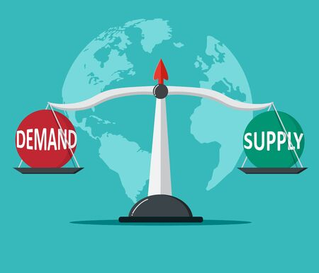 Demand and Supply balance on the scale. Business Concept.  Ilustrace