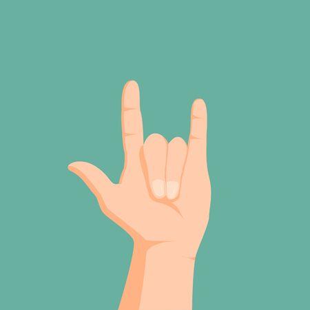 I Love You Sign Language . Rock music gesture. Vector illustration  Illustration