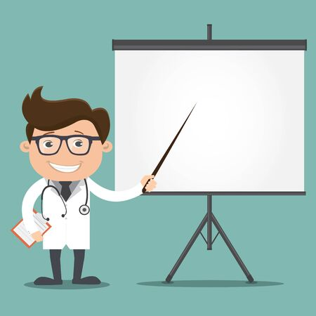 Doctor man pointing at a board - vector illustration Stock Illustratie