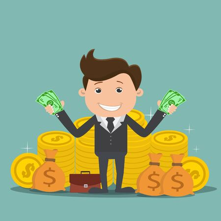 Businessman with money , Rich businessman - vector illustration