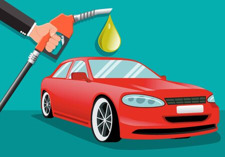 Businessman holding a fuel nozzle with red car. Petrol station. Vector illustration. Foto de archivo - 138295788