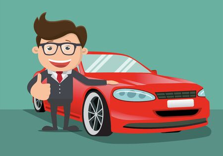 Happy business man next to the red car. Vector illustration. Foto de archivo - 138296415