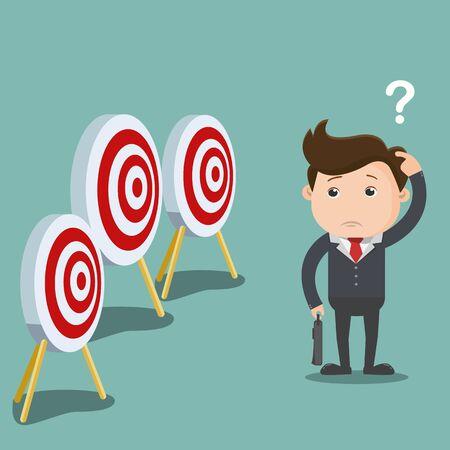 Verwirrter Geschäftsmann mit vielen Aufgaben und Zielen, Geschäftskonzept - Vektorillustration Vektorgrafik
