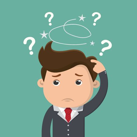 Business man is confused, Thinking businessman surrounded by question marks , Business concept - vector illustration   イラスト・ベクター素材