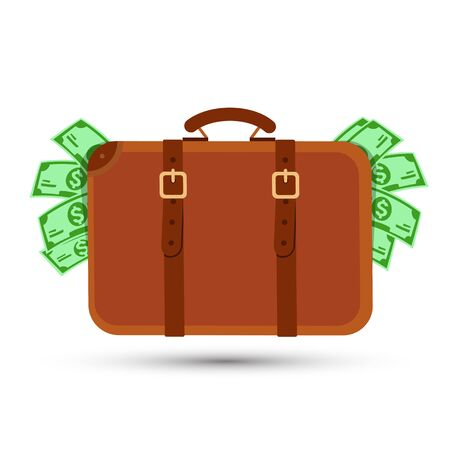 Suitcase with money concept , Suitcase full of money - Vector illustration