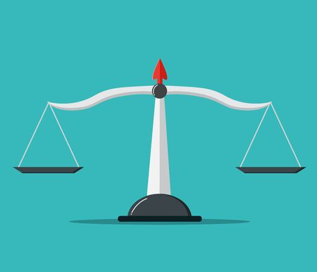 Scales of justice .Empty scales . vector illustration.