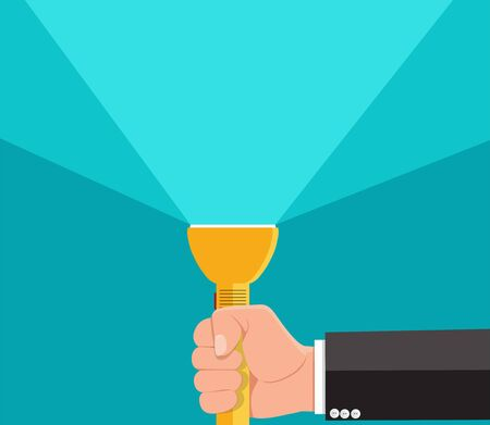 Businessman holding flashlight.Vector illustration.  Ilustrace