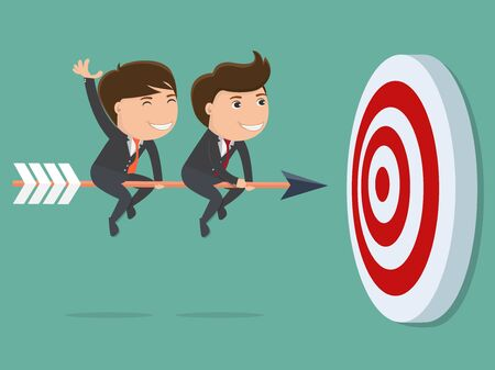 Two businessman rides on arrow . Vector illustration for success concept.
