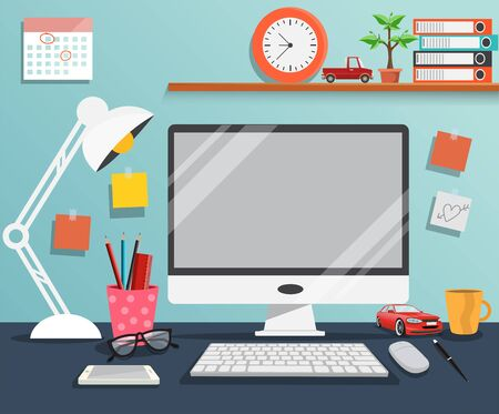 Workplace with computer ,The office of a creative worker - Vector illustration. Stock Vector - 138297046