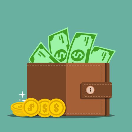 Wallet with money - Vector illustration.