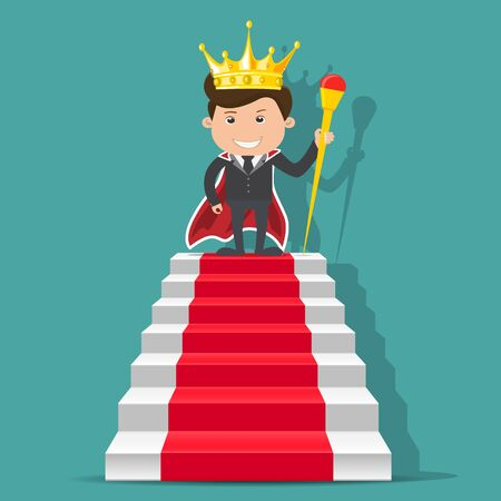 King businessman standing on the stair. - vector illustration Foto de archivo - 138296320