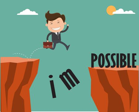Businessman jumping over cliff and breaking the impossible into possible. Vector illustration.