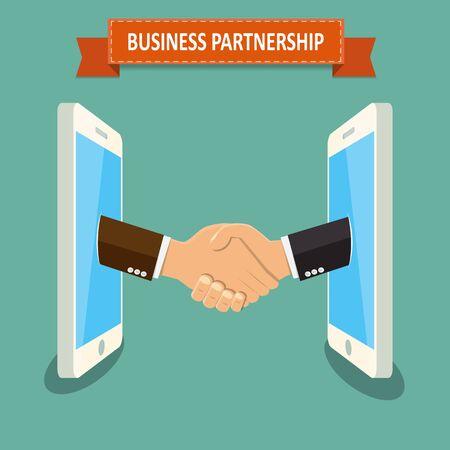 Business partnership on mobile , Business handshake,handshake businessman agreement , hands protruding from the mobile phone screen - vector illustration