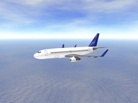 3D Airplane Side view over ocean Stock Photo