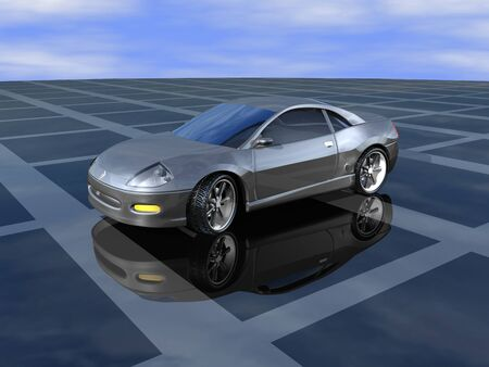 car show: 3D Silver sports car show room