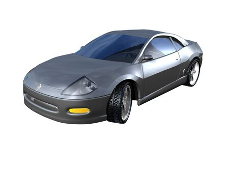 3D Silver Sports Car Front View Stock Photo - 1440658