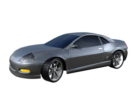 3D Silver Sports Car side view isolated Stock Photo - 1440655