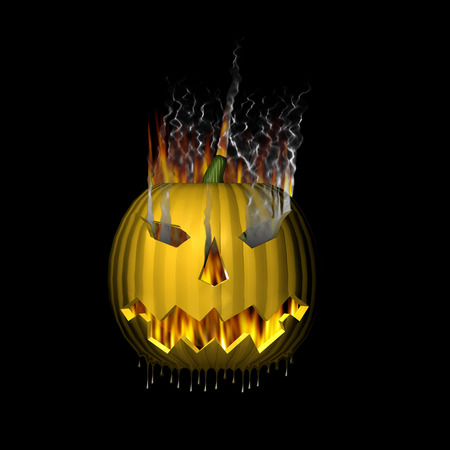 3D Lit melting pumpkin on fire