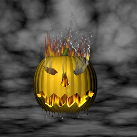 3D Melting on fire pumpkin