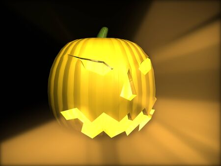 3D Pumpkin with light rays Stock Photo - 1440696