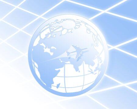 circumference: 3D World globe in blue Stock Photo