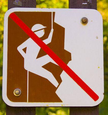No Rock Climbing sign