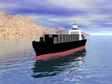 3D Cargo Ship front view with land Stock Photo