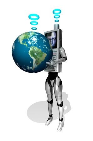 3D Cell phone robot holding earth