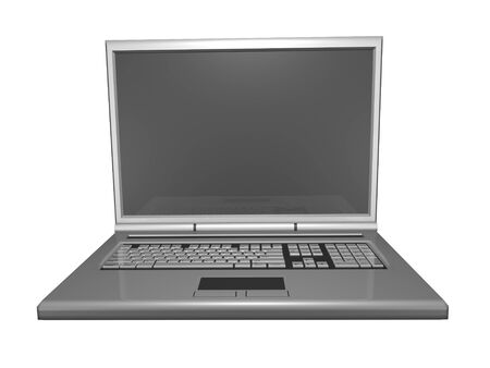3D laptop front view isolated Stock Photo