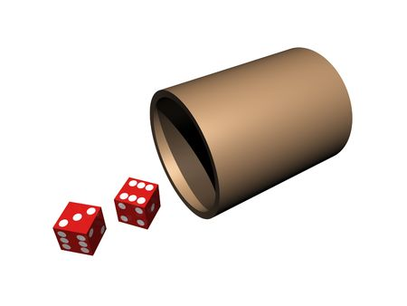 Dice out of cup on isolated background Banco de Imagens