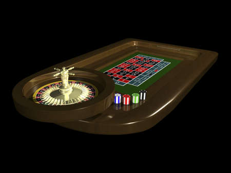 roulette table: 3D Roulette table on black background Stock Photo
