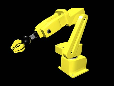 automated: 3D Automated arm on black background