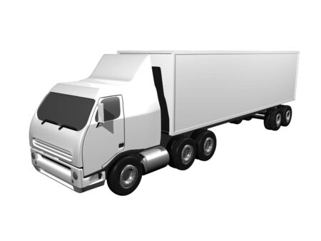 3D Semi Truck on white isolated background