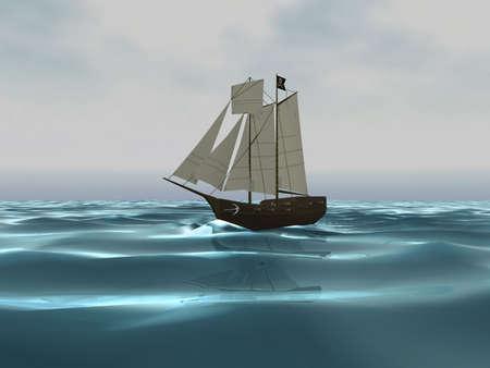 3D piratenschip op oceaan Stockfoto