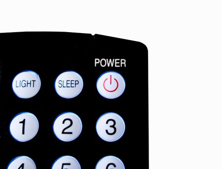 control power: Close up of remote control power button isolated