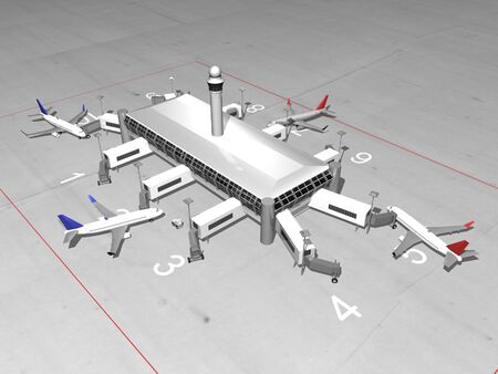 3D airport top view