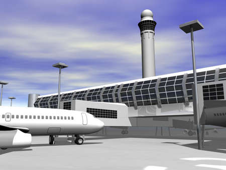 3D airport terminal close up Фото со стока