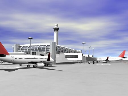 3D Airport terminal side view