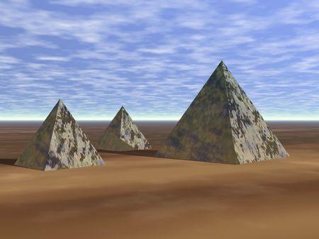 3D Pyramids in sand render Stok Fotoğraf - 1991250