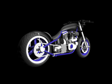 3D Motorcycle on black background 2 Stock Photo - 1999439