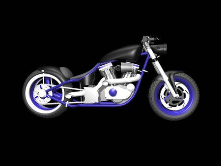3D Motorcycle on Black background 3 Stock Photo - 1999440