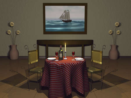 checker plate: 3D italian restaurant scetting with candle and wine