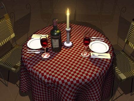 checker plate: 3D table with wine and candle light setting