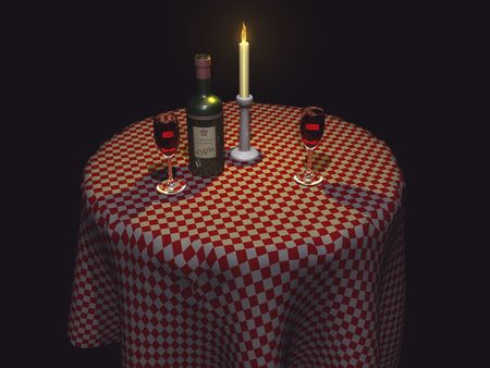 checker plate: 3D Restaurant table with wine