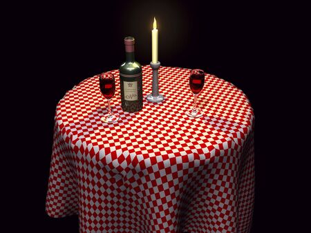 checker plate: 3D restaurant setting with wine and candle lit