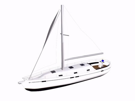 3D Sailboat front side view on isolated white background