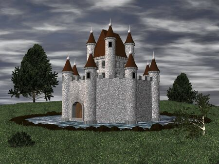 3D castle setting with moat Stock Photo