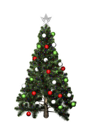 3D Christmas tree isolated on white background Stock Photo
